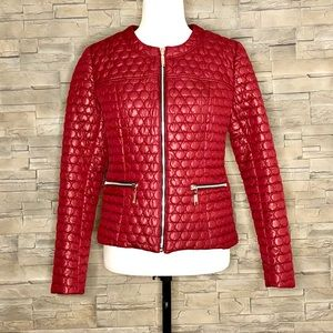 Raffinalla wine red circle-quilted jacket